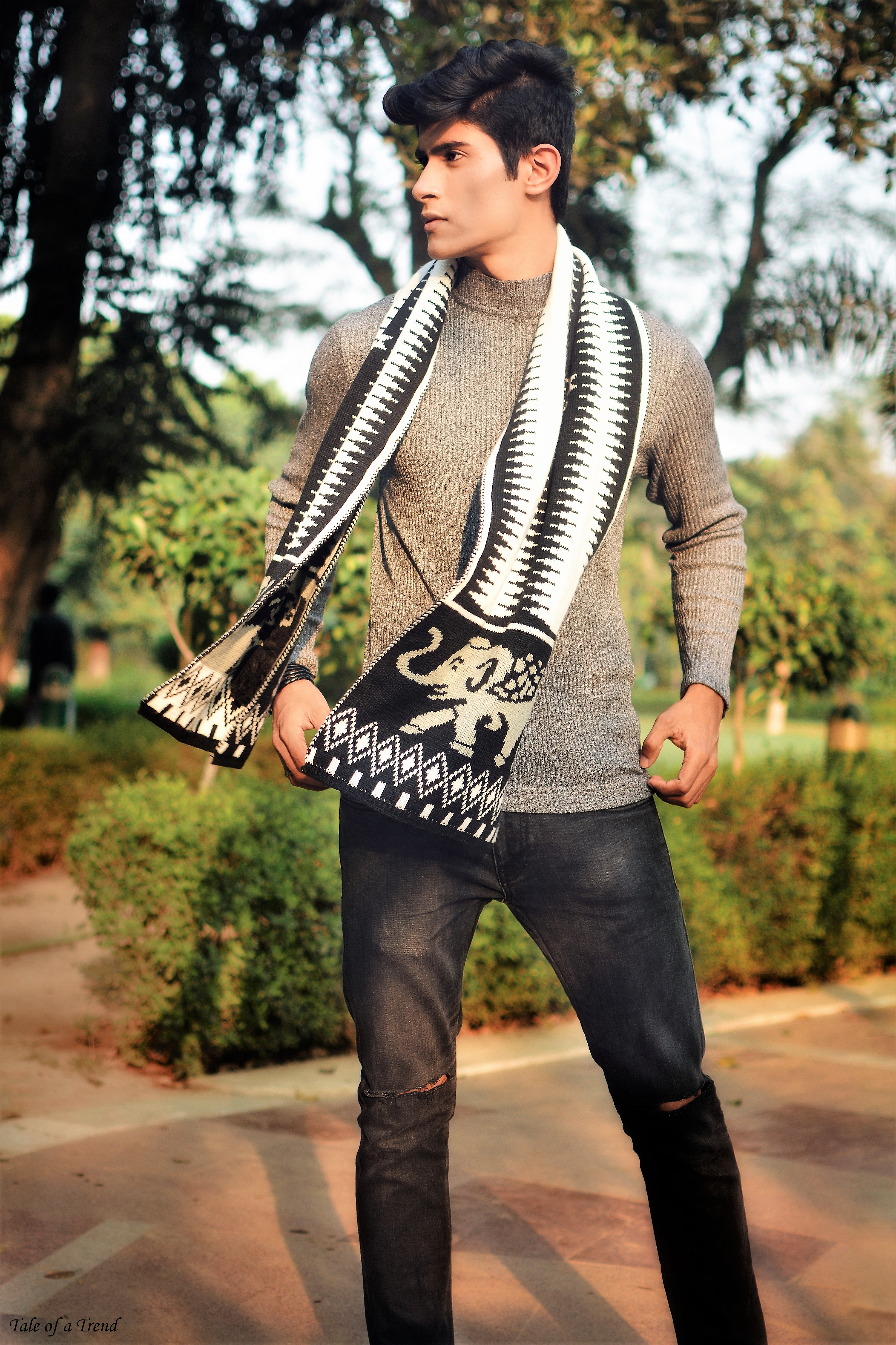 ... wave in his knitted muffler in neutral tones 2b7ff92c1